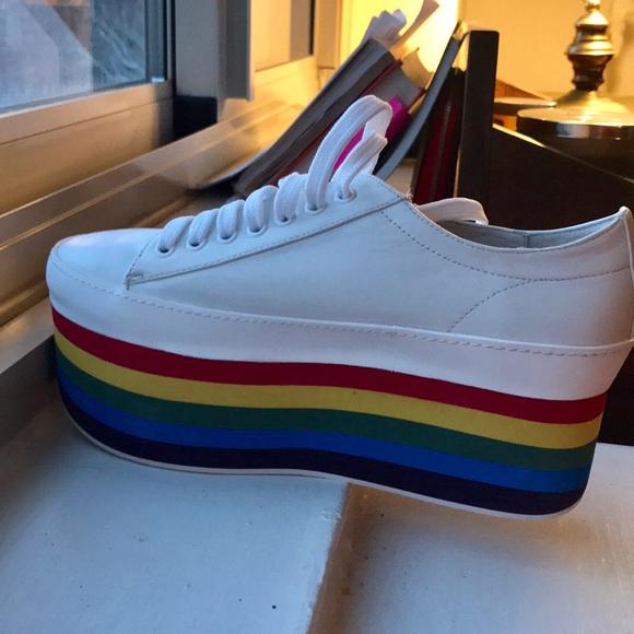 0b384b22f80 Jeffrey Campbell Rainbow Platform Sneakers